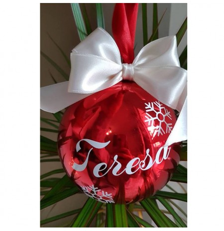 Ornament peme Glob i Kuq i Personalizuar