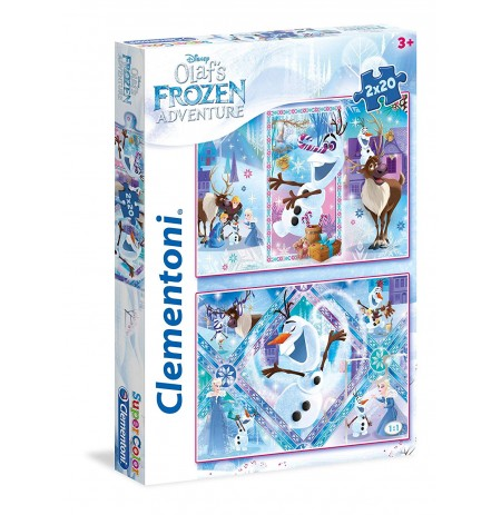Clementoni Puzzle 2 ne 1 Aventurat e Olafit 40 Cp