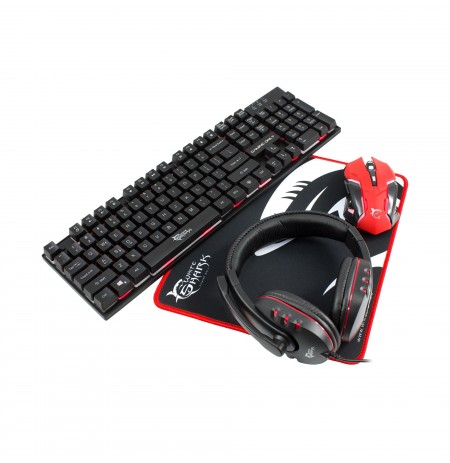 Set 4 ne1 White Shark Kb+Mouse+Pad+Headset  GC-4101