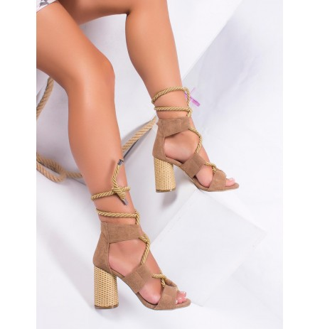Sandale Bezhe me Rripa Carly
