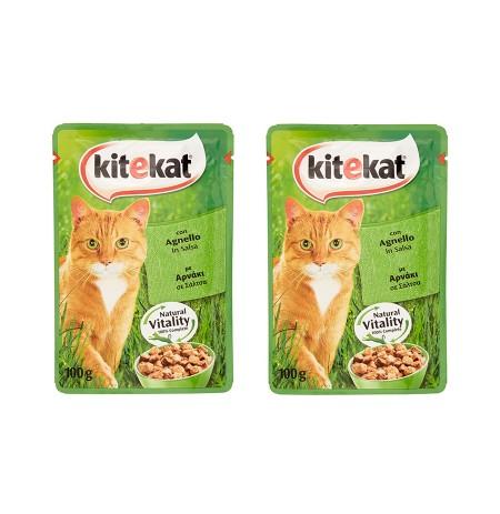 Ushqim per Mace me Mish Qingji Kitekat 100 Gr + Ushqim per Mace me Mish Qingji Kitekat 100 Gr