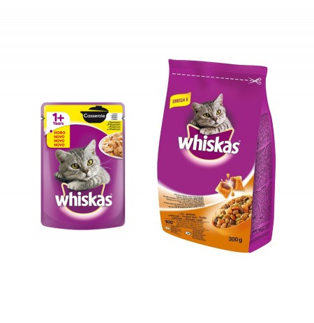 Ushqim per Mace Whiskas 85 Gr + Ushqim per Mace te Rritur me Mish Pule Whiskas 300 Gr