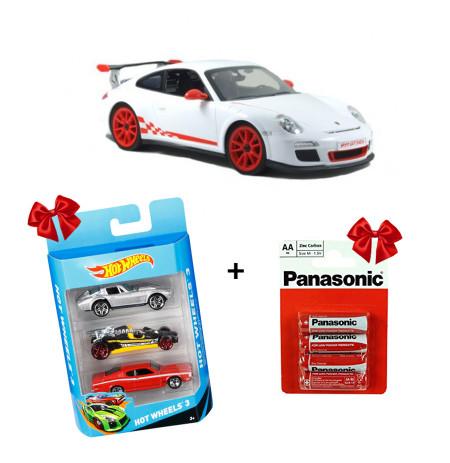 Makine me Telekomande Porsche + Panaso Bater x4 + HotWheels Makina 3X1