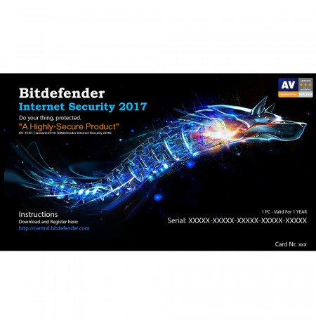 Bitdefender Internet Security 2017,1 Liçensë/1 Vit