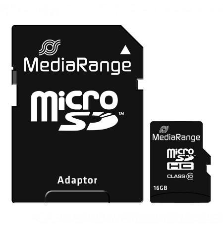 CARD MICRO SDHC 16GB CLASS 10 MEDIARANGE ME ADAPTOR
