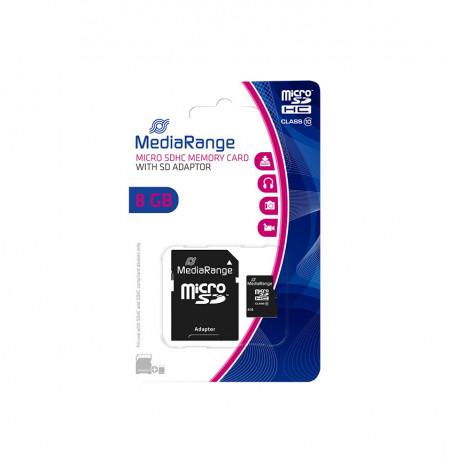 KARTE MEMORJE MICRO SDHC 8GB CLASS 10 MEDIARANGE ME ADAPTOR
