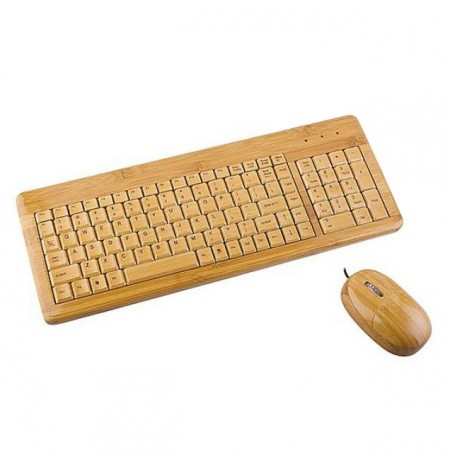 Tastiere Us + Mouse Gembird Usb Bamboo 105 Keys + 4 Multimedia